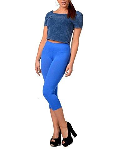 Leggings a Vita Alta In Diversi Colori, in Cotone con Lycr, lunghezza 3/4, taglia S, M, L, XXL, 3XL, XL Blau