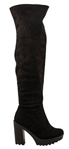 Elara Damen Stiefel | Bequeme Overknee High Heels | Blockabsatz Wildlederoptik Schwarz (Heel Stiefel Girls High)