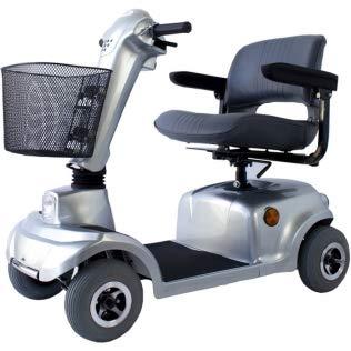 Scooter eléctrico minusválido, 4 ruedas, Para adultos, Asiento giratorio y plegable, Auton. 34 km, 12V, Compacto, Gris, Piscis, Mobiclinic