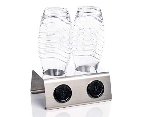 Streambrush Premium Abtropfhalter aus Edelstahl Abtropfständer für z.B. Sodastream Crystal & Emil Flaschen - Flaschenhalter mit praktischer Deckelhalterung | Made in Germany 2X -