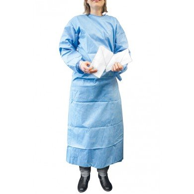Basic-Plus Einmal-OP-Kittel blau Gr. XL, steril, inkl. 2 Handtücher