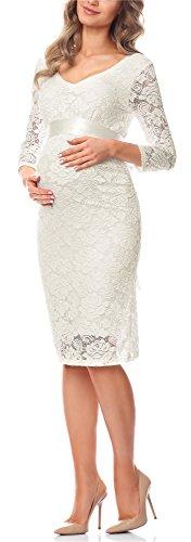 Be Mammy Damen Umstandskleid Maternity Schwangerschaftskleid BE20-170 (Ecru, L)