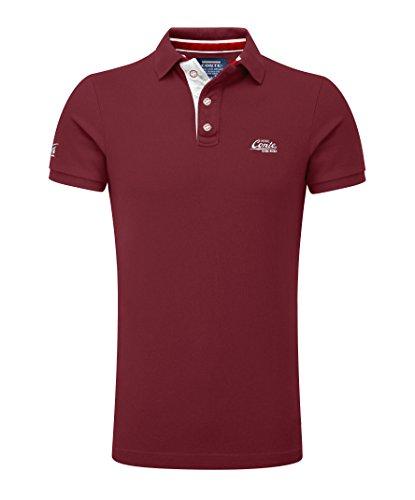 M.Conte Herren Poloshirt Basic Men's Kurzarm Polohemd T-Shirt Polo-Shirt Pique- Gr. XXXL, Dunkel-Rot