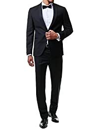 Paco Romano Herren Smoking Anzug Jacket Sakko Hose Schwarz 2-Teilig Slim Fit Premium Cotton 80% Wolle Gentleman Hochzeit Feier Dinner 67712