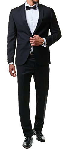 Paco Romano Herren Smoking Anzug Jacket Sakko Hose Schwarz 2-Teilig Slim Fit Premium Cotton 80% Wolle Gentleman Hochzeit Feier Dinner 67712, Farbe:Schwarz, Größe:46 / S (2-knopf-smoking)