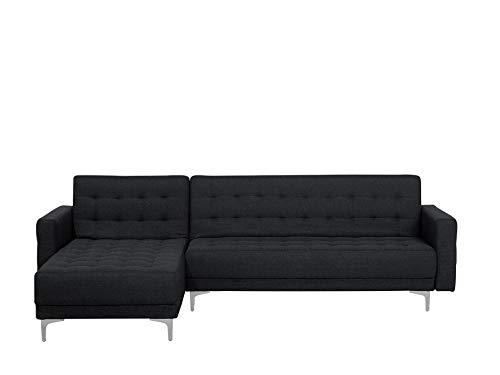 Beliani Canapé d'angle à Droite Convertible en Simili-Cuir Noir Aberdeen