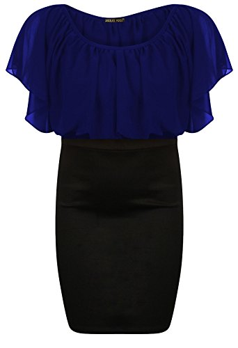 Damen Oversize-Oberteil Fledermausärmel, hohe Taille, Chiffon-Rock, Gr. 8-22 Blau - Königsblau