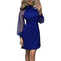 Minetom Mode Femmes Dames Dentelle en Mousseline de Soie Au-Dessus du Genou Mini Robe Robe de Fête Lâche Bleu FR 40