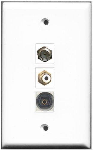RiteAV-1Port RCA und 1Port Coax Kabel, Accessoires F und 1Port Toslink weiß Wall Plate -