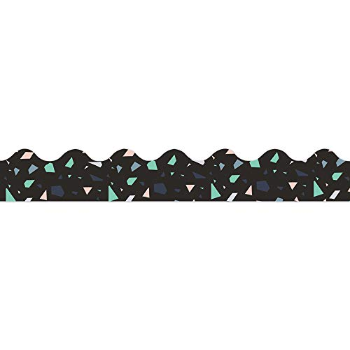 Eureka Deko-Streifen, Konfetti-Muster, extra breit, für Klassenzimmer, 8 x 94 cm, Schwarz, Rosa und Grün, 12 Stück