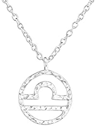 Tata Gisèle© Collar en Plata 925/000 Circona Colgante Signo Zodiacal Balance – Zodiaco