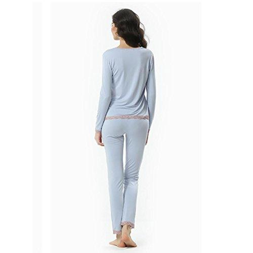 CHUNHUA Mme modal dentelle pantalon pyjama à manches longues survêtement , pink , m (155/80a) Blue