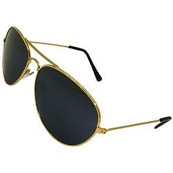 Neu (Unisex Herren Damen) Gold Aviator Sonnenbrille Schwarz Glas mit Tuch fall UV400