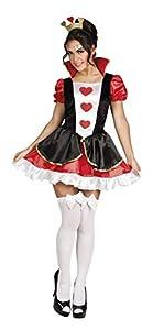 Boland-Reina De Corazones Disfraz Mujer Womens, rojo/negro/blanco, M, 83857