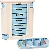 Preisvergleich für 4 Stück Pillendosen Medikamentendosierer Pillenbox Tablettendose Tablettenbox Wochendispenser für Pillen 7 Tage...