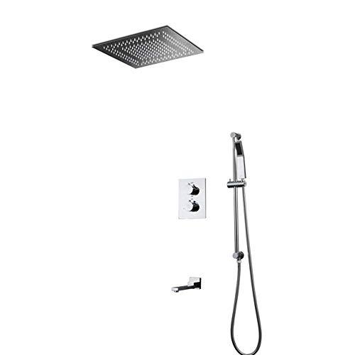 SHHENGSHIYUJIA Sistema de Ducha LED, Modo de Lluvia,Ducha de Mano Ducha Oculta Juego de Ducha de Pared con rociador Superior con 2 Funciones LED