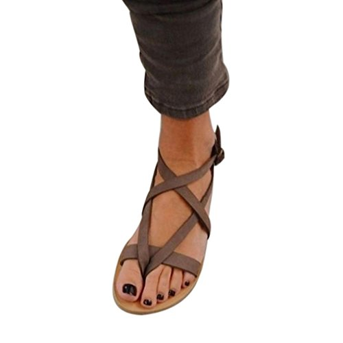 BBestseller Sandalias mujer, Sandalias romanas de mujer Sandalias planas zapatos de playa plataforma chanclas de señoras sandalias de abiertos (42, marron)