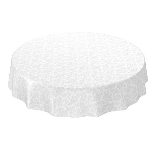 ANRO Wachstuchtischdecke Wachstuch abwaschbar Tischdecke Blumen Einfarbig Uni Weiß Reliefdruck Damast Rund 120cm (120 Weiße Runde Tischdecke)