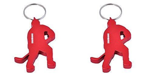 (munkees 2 x Schlüsselanhänger Eishockey-Figur Flaschenöffner, Doppelpack Rot, 349749)