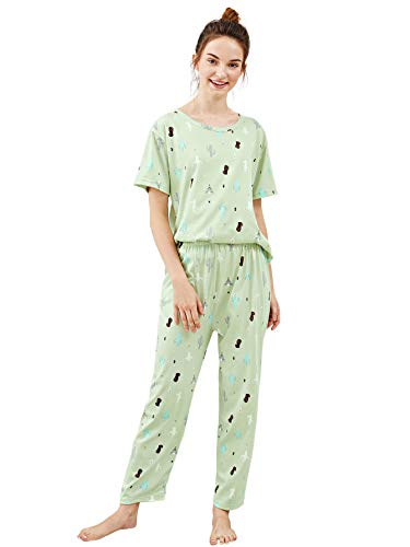 DIDK Damen Schlafanzug Set mit Slogan Kurzarm Shirt und Lang Schlafanzughose Sleepwear Pyjama Set Kaktus Grün M
