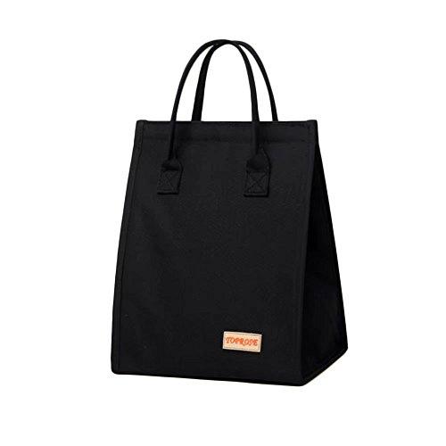 Oneyongs grande capacità tela borsa termica porta pranzo cooler picnic per donne da lavoro scuola da viaggio con chiusura in velcro nero