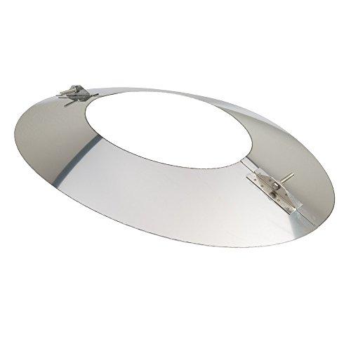 MK sp. Z o.o. Schornstein, Wandblende oval 2-teilig 45°, Edelstahl, ø 120 mm (180 mm) Edelstahl glänzend keine Farbe wählbar