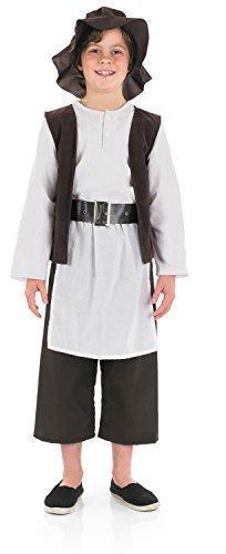 Jungen Tudor Kostüme (Jungen Luxus Tudor Shakespeare Historisch Büchertag Kostüm Kleid Outfit - Braun, 6-8 Jahre)