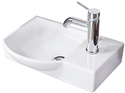 FACKELMANN Waschbecken Links Gäste-WC/Waschtisch aus Keramik/Maße (B x H x T): ca. 45 x 10,5 x 32 cm/hochwertiges Becken fürs Badezimmer/Farbe: Weiß/Breite: 45 cm