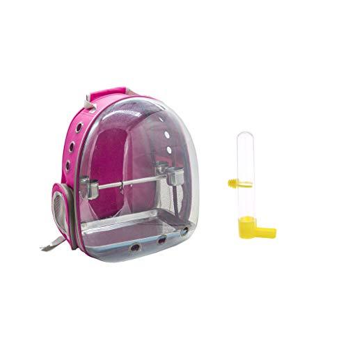 FLAMEER Transpirable Mochila con Espacio Panorámico de Ave Portador de Mascotas Pájaro Soporte Bolsa Transportadora con Bebedor de Pájaro para Loro