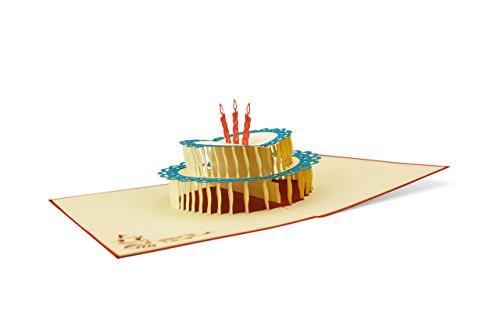 l und elegant I Glückwunschkarte I Karte zum Geburtstag I Geburtstagstorte mit Kerzen I Pop Up Karte 30 40 50 60 G05 (Geschenkkarte Geburtstag)