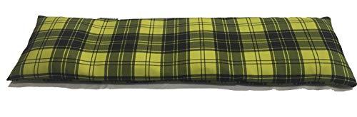 COVERBAGBCN Cuscino Termico Cervicale con Doppia Fodera con Noccioli di Ciliegia - Quadro Tartan Nero E Verde