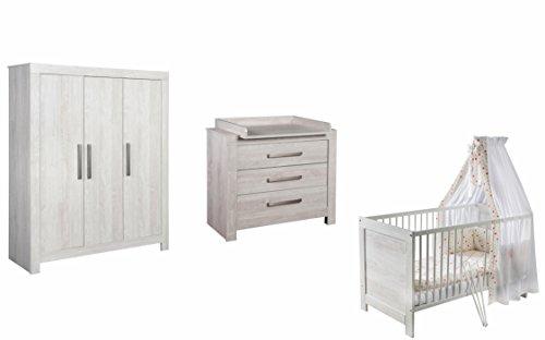 Preisvergleich Produktbild Schardt Kinderzimmer Nordic Cascina - Bett, Wickelkommode, Schrank 3 türig