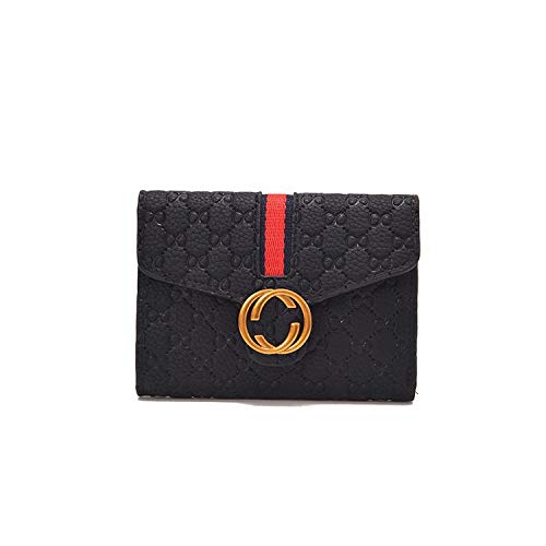 Geldbörse Girls Short Money Bar Short Ladies Wallet Geprägte Schlossschnalle Wild Money Clip Handtasche, schwarz
