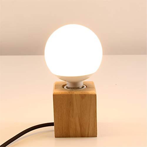 Yunjie Kleine Tischlampen, Massivholz Tischlampen Retro E27 Holzsockel Schreibtischlampen für Nacht Schlafzimmer Wohnzimmer Esszimmer Cafe Bar Flur Decor (ohne Lampen) -
