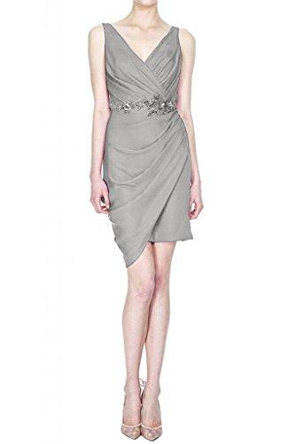 TOSKANA BRAUT Glamour V-Ausschnitt Abendkleider Kurz Chiffon Brautjungfer Cocktail Party Abiballkleider Silber