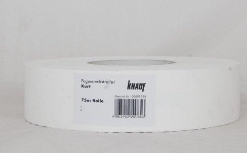 Preisvergleich Produktbild Knauf Fugen-Deckstreifen Kurt, reißfester Bewehrungs-Streifen zur Verspachtelung von Gipskarton-Platten / Gipsfaser-Platten: Faserband mit hoher Festigkeit, 75-m
