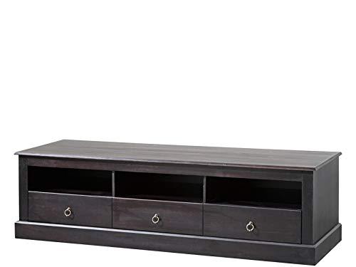 TV-Bank Hifi Board Lowboard 161x50x45 cm Fernsehtisch Fernsehschrank Kolonialstil Kiefer Holz dunkelbraun 3 Schubladen - Kiefer-plasma-tv
