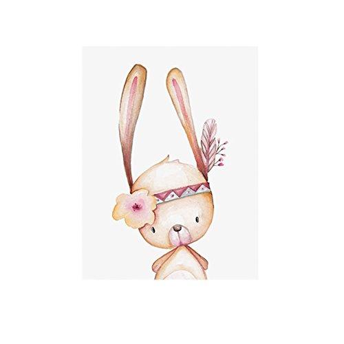 Kaninchen Süße Tier Leinwand Malerei Kinderzimmer Poster Wand Art Decor, canvas, 21x30cm Kinderzimmer Tier Bilder
