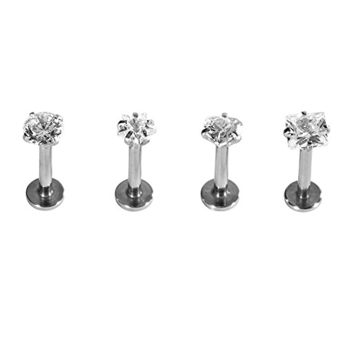 SHINEstyle 4x 16g Surgical Gem Steel Tragus Lip Ring Monroe Ear Cartilage Stud Earring Body Piercing by SHINEstyle (16 Lip Ringe G)