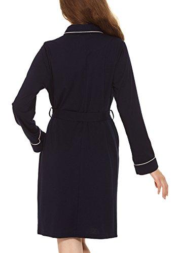 Yulee Damen Morgenmantel Kimono Baumwolle Nachtwäsche in europäischer Größen Blau