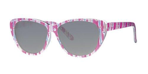 Eyewear World Kinder-Sonnenbrille mit Katzenaugen, Kunststoff, transparenter Rahmen, lila Blumendruck, mit gelbem Halsband