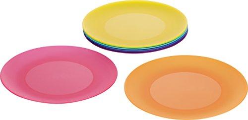 Kigima flache Teller 8er Set Rainbow bunt 25 cm Durchmesser