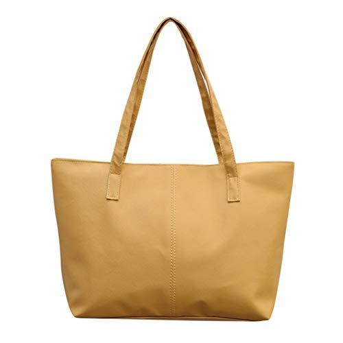 SoonerQuicker Günstige Handtaschen Damen Leder Schultertasche Celebrity Tote Geldbörse Reisetasche (khaki)