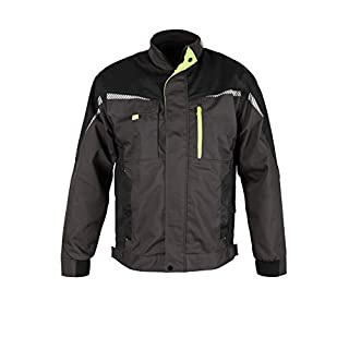 Prisma® - Multifunktionale Arbeitsjacke Bundjacke - reflektierende Streifen - Enge Passform - Grau/Schwarz/Grün 56