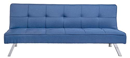 Enrico coveri contemporary divano letto 3 posti in tessuto sofà trapuntato da soggiorno moderno | mod. patrick (blu)
