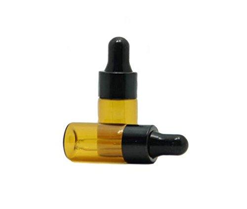 5ml/10ML olio essenziale di vetro ambrato e Eyed contagocce tappo nero trucco cosmetici provetta bottiglia per olio essenziale aromaterapia (confezione da 12), 10ML, 1