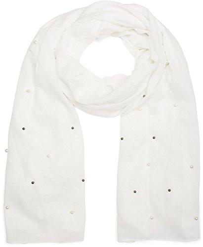 Tuch Damen unifarbener leichter Schal mit hellen und dunklen Perlen besetzt