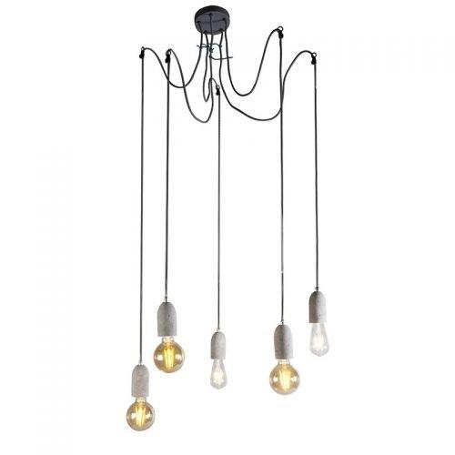 QAZQA Hängeleuchte Beton 5 Deckenlampe Design Pendelleuchte Industrial grau