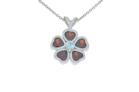 2.5 Ct Garnet Heart Bezel & Aquamarine Pendant .925 Sterling Silver Rhodium Finish