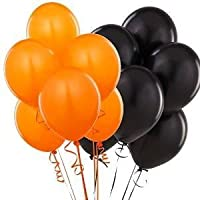 "Assorted Bright Orange and Black Latex 12"" Balloons Party Decorations - Coordinate with other orange and black decorations - Ideal for Halloween, special occasions, birthday"
